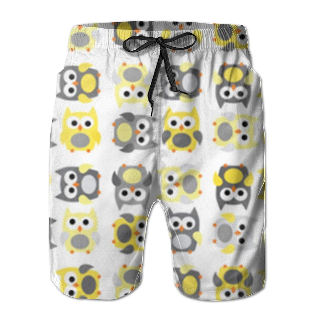 Mens Board Shorts Little Owls in Gray and Yellow Holiday Swim Trunks Mesh Lining