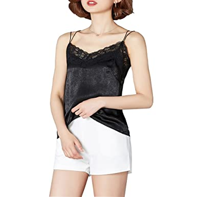 88db53b8aa4fb7 YOUMU Women Satin Faux Silk Camisole Strap Vest Tank Spaghetti Top Floral  Lace V Neck  Amazon.co.uk  Clothing