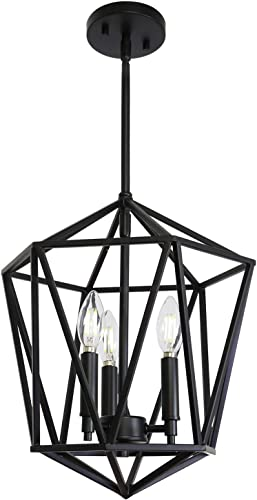 VINLUZ 3 Light Industrial Farmhouse Chandeliers Black Metal Geometric Lantern Pendant Lighting Adjustable Height, Candle-Style Hanging Light Fixtures Ceiling for Dining Room Kitchen Entryway Stairway