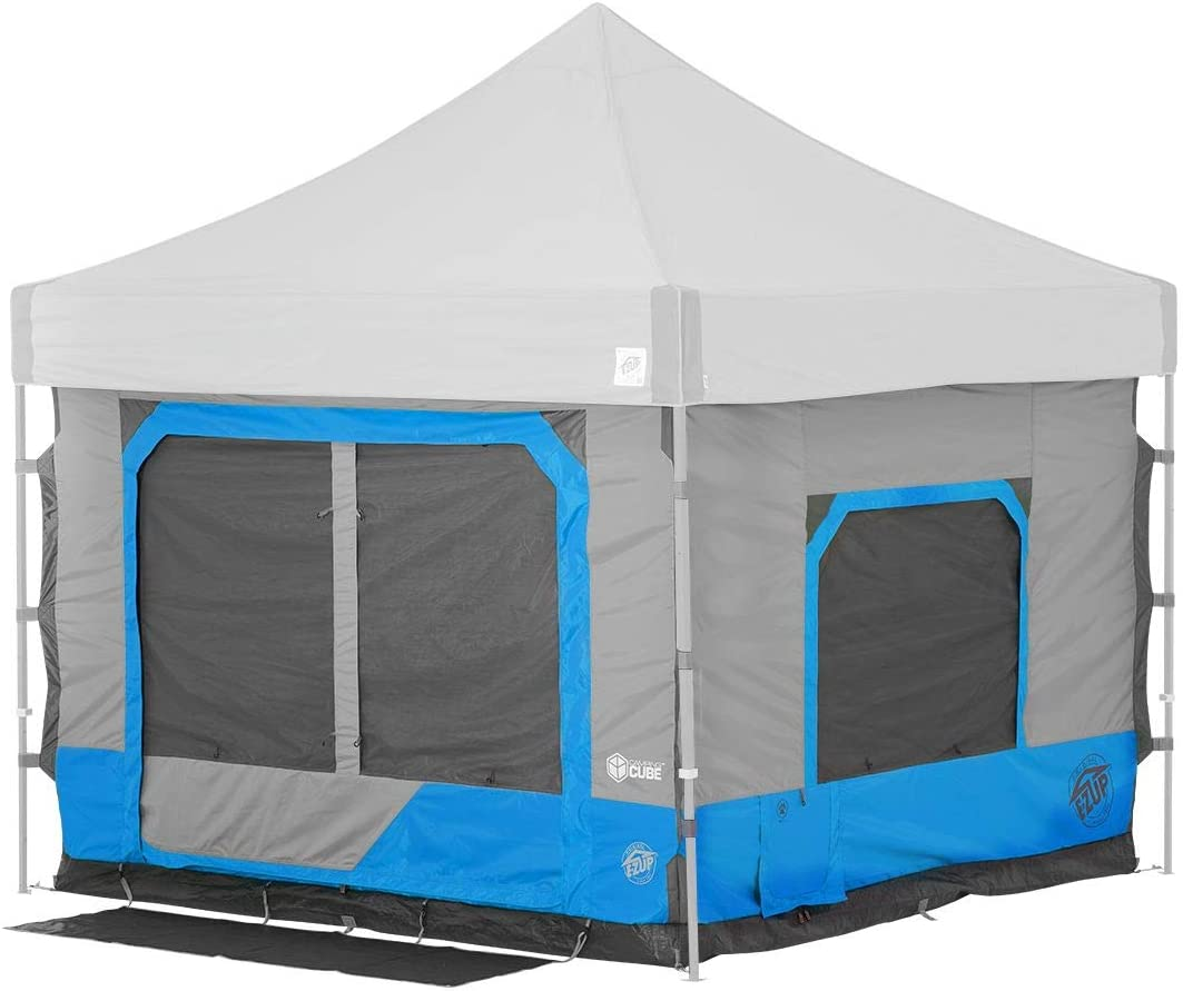 Photo of a square-shaped tent with pointed roof, big screen doors are in gray and with blue outlines.