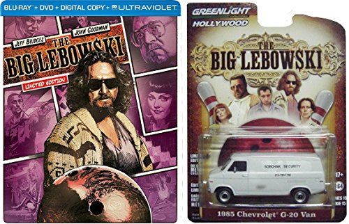 "The Big Lebowski Limited Edition Steelbook Blu-ray/DVD Combo (With UltraViolet) with Greenlight 1985 Chevrolet G-20 Van ""Sobchak Security"" 1:64 Die-Cast Car Bundle"