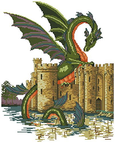 Crossdecor Needlecrafts Stamped Cross Stitch Kits 11 Count with Pre-designed Pattern, Dragon and Castle