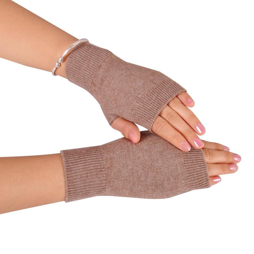 NOVAWO 100% Cashmere Half Fingerless Thumb Hole Warm Gloves Mittens for Men Women, Khaki