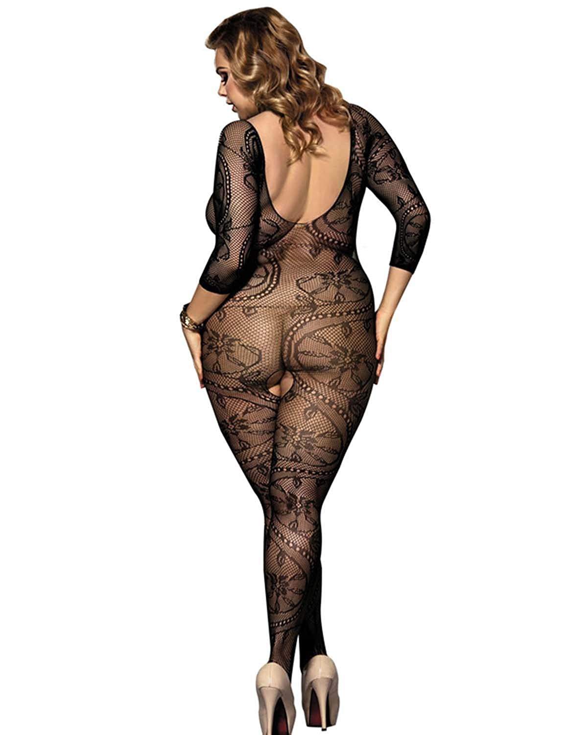 c5c30f5708e Vivilover Women s Sexy Plus Size Fishnet Bodystocking Lingerie (Long Sleeve  Style
