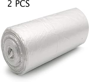 Hulless Small Trash Bags 2 Gallon Garbage Bags 100 Count / 2 Rolls, Wastebasket Trash Bags for Kitchen, Bedroom, Bathroom, Living Room, Office. (Clear White)