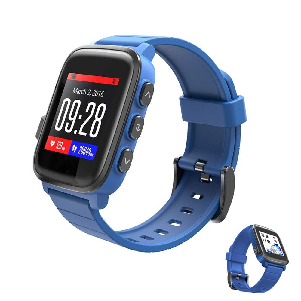 スマートウォッチは一日を通して心拍数を監視し、深防水時計GPSトラックの動きを追跡40日バッテリー寿命フィットネストラッカーウォッチ,Blue B07MQ9L536 Blue