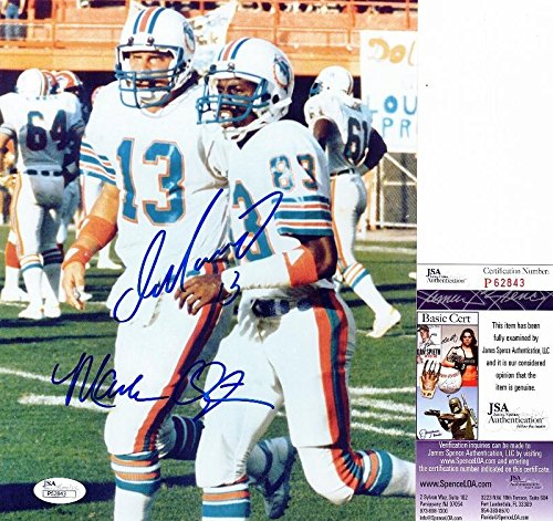 Dan Marino and Mark Clayton Signed - Autographed Miami Dolphins 8x10 inch Photo - Certificate of Authenticity - JSA - Marino Dan Photograph Signed