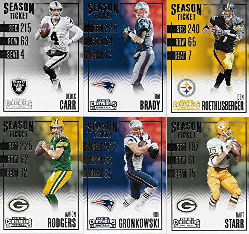 2016 Contenders Football Series Basic 100 Card Veteran Players Set with Tom Brady, Aaron Rodgers, Ben Roethlisberger, Bart Starr and Many Other Stars Bart Starr Memorabilia