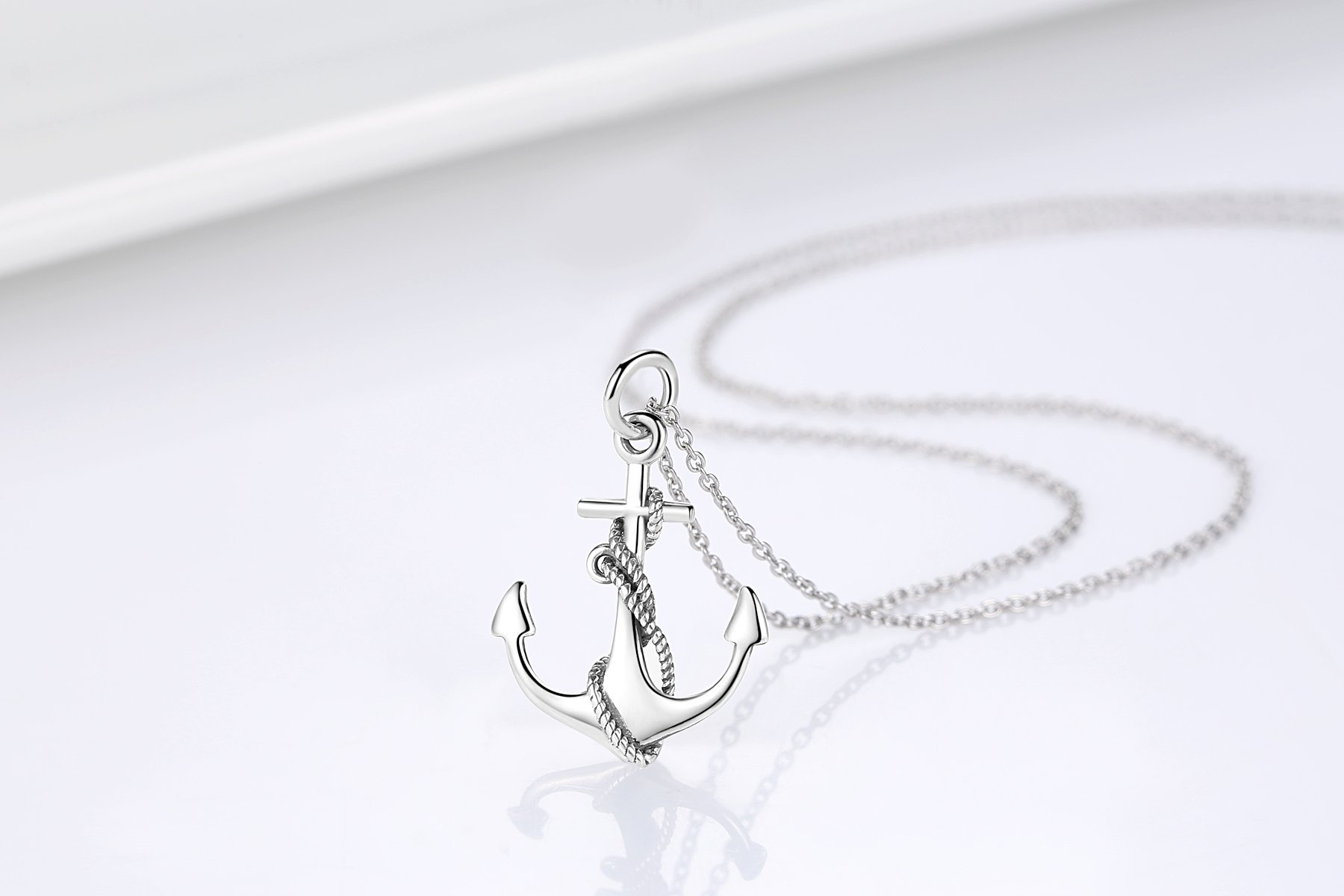 Women's Necklaces Sterling Silver Anchor Pendant Necklace Fine Jewelry for Women by Cuoka (Image #6)