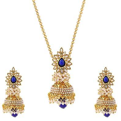 Buy Adiva Bridal Wedding Blue Metal Alloy Jewellery Set With
