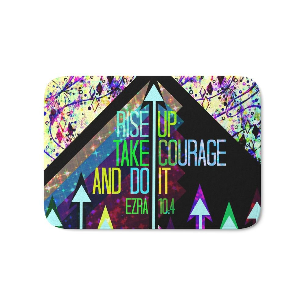 Society6 RISE UP TAKE COURAGE AND DO IT Colorful Geometric Floral Abstract Painting Christian Bible Scripture Bath Mat 17'' x 24''