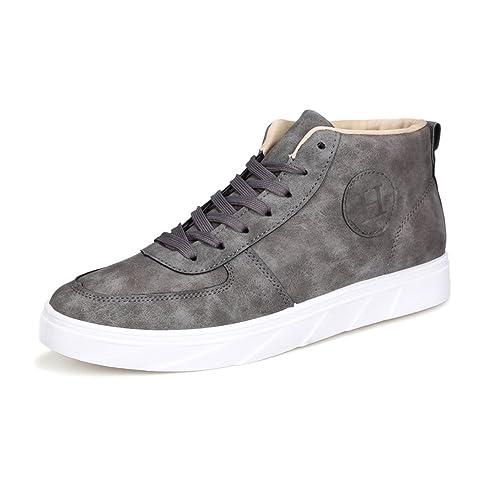 Otoño/Verano 2018 Zapatos Deportivos Planos Ocasionales de los Hombres Mocasines clásicos de Color Puro Zapatos con Cordones de Lona en los Tobillos: ...