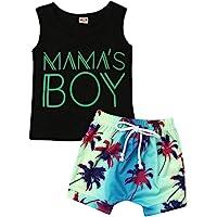 """Juego de 2 piezas completo de verano para niño con camiseta estampada con texto """"Mama's Boy"""" Hawaiana Floral…"""