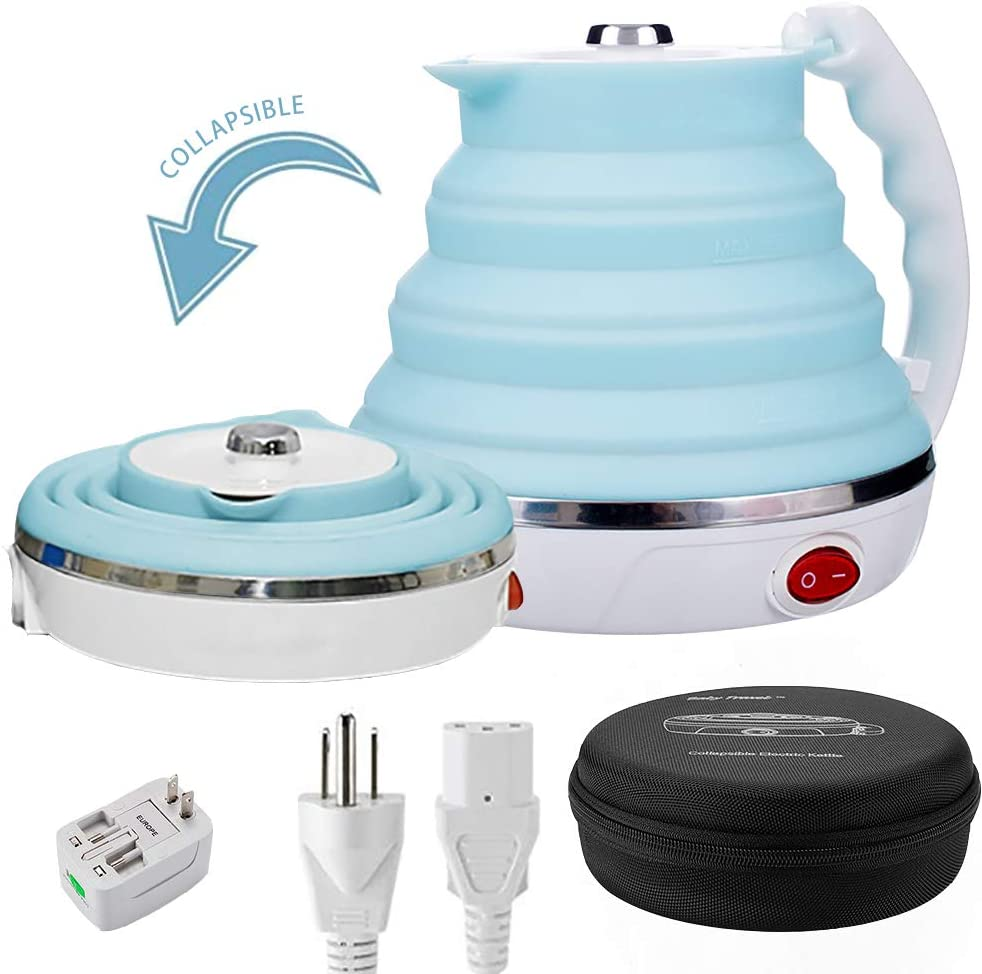 Travel Foldable Electric Kettle, Collapsible Electric Kettle Dual Voltage Food Grade Silicone Small Electric Kettle Boil Dry Protection 555ML,110-220V US Plug Blue