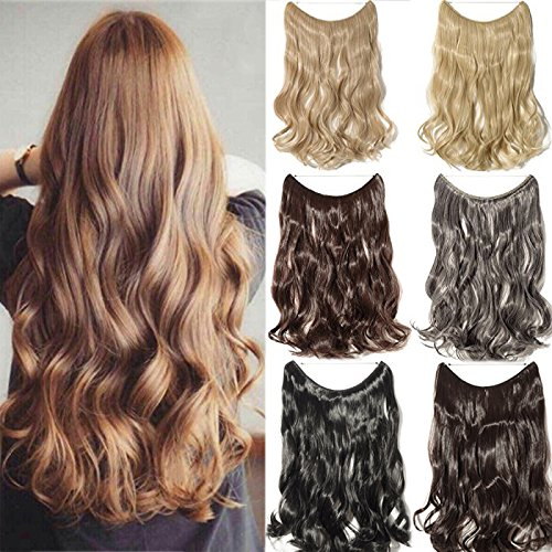 "[Promo] 20"" Curly Secret String Flip On No Clip Hair Extensions Natural Hidden Wire Fish Line Synthetic Hairpieces Adjustable Blackarent Wire Dark Blonde Mix Bleach Blonde"
