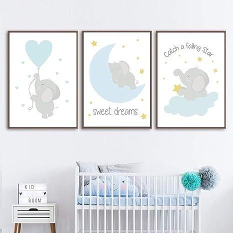 Juego de 3 Cuadros Infantiles Niño Animales Pósteres Elefante Láminas Impresión en Lienzo Decoración Habitación Bebé pared Regalo Sin Marco NPTWC002-S