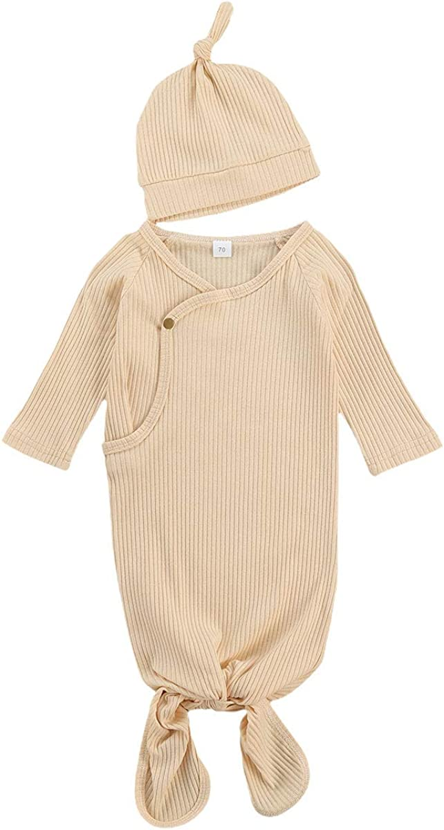 HoneyKid Infant Baby Boy Girl Gown Newborn Ribbed Cotton Knoted Nightgown with Hat, 0-3 Months