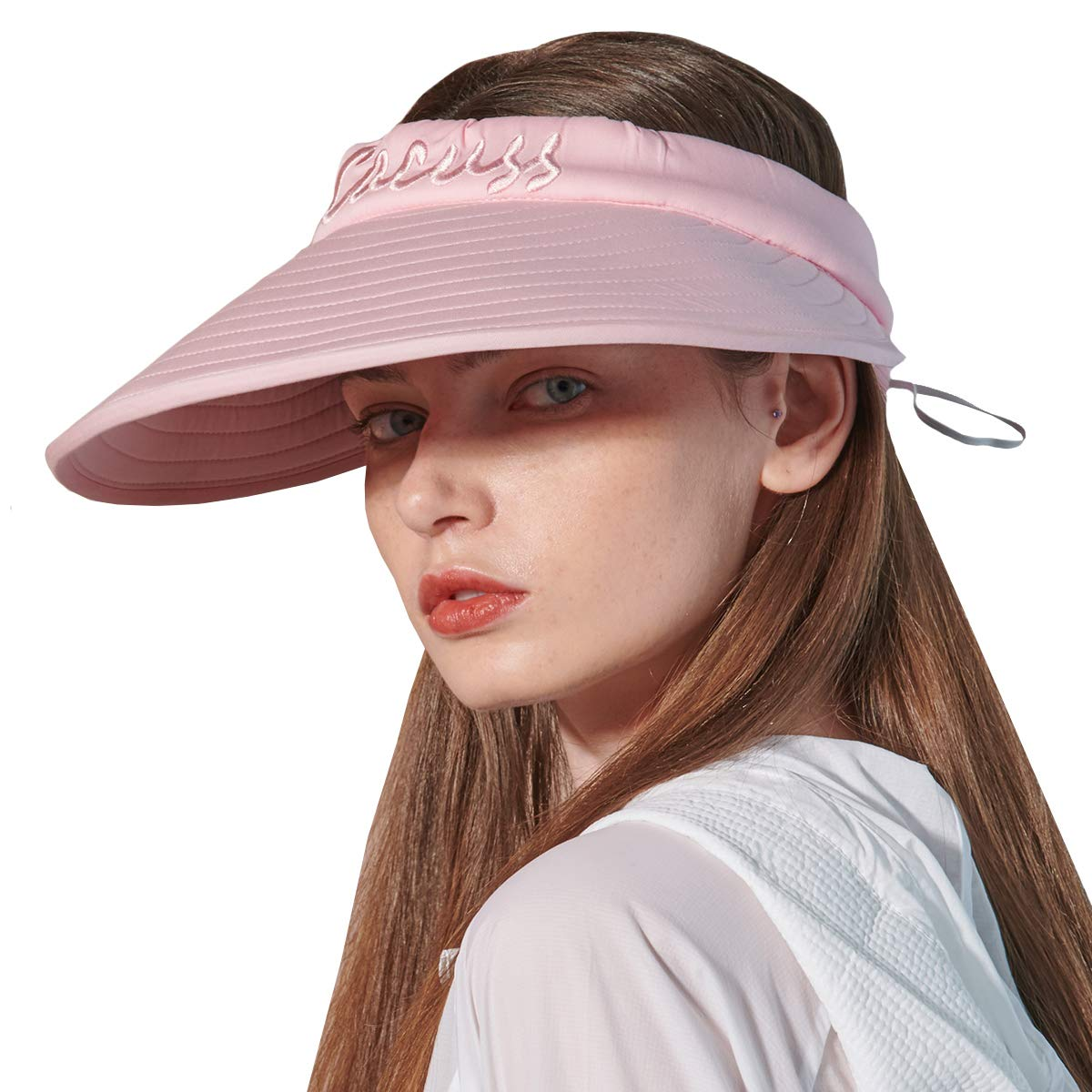 CACUSS Women's Summer Sun Hat Large Brim Visor Adjustable Magic Tape Packable UPF 50+(Pink) by CACUSS (Image #1)