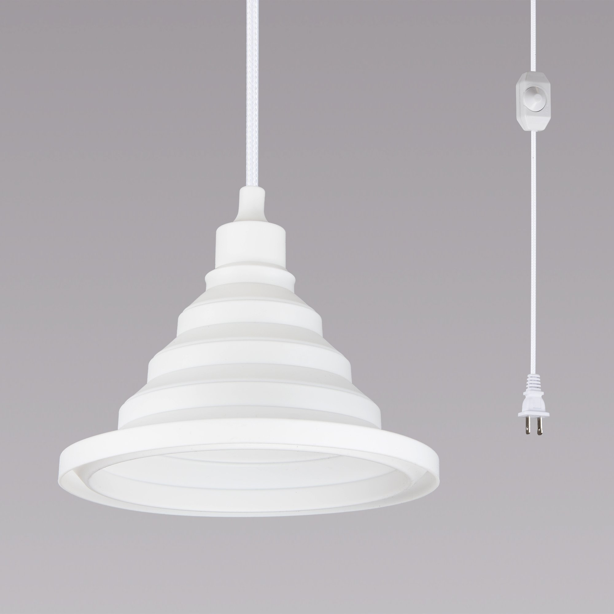 Plug-in Ceiling Pendant Lights with Foldable Silicone Lampshade and 15 Ft Cord and Dimmer On/Off Switch (White)