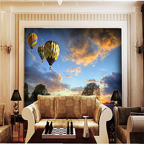 BZDHWWH Custom 3D Photo Wallpaper Modern Natural Purple Lavender On The Original Hot-Air Balloon Flight Hotel Hall Mural,170Cm (H) X 255Cm (W)
