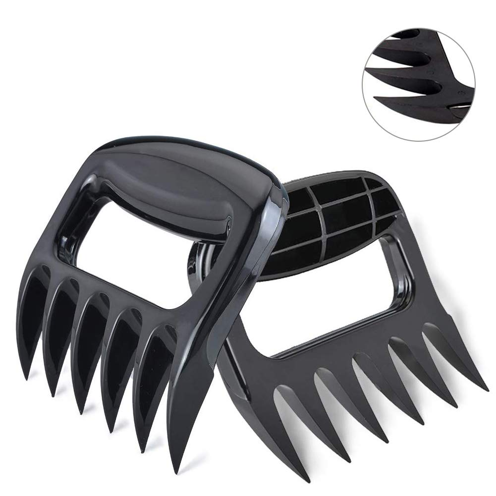 Arbos Pulled Pork Bear Claws Meat Shredder for BBQ, Grilling Tools and Smoking Accessories, Heat Resistant Nylon Forks Easy to Lift, Handle, Shred and Cut, 2 Pack, Black meat claws