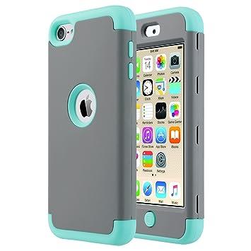 ULAK iPod 5 Caso, iPod Touch 6 Caso Funda Carcasa híbrido de 3 Capas de Silicona a Prueba de Golpes Caso Duro Cubierta para iPod Touch 5ta / 6ta ...