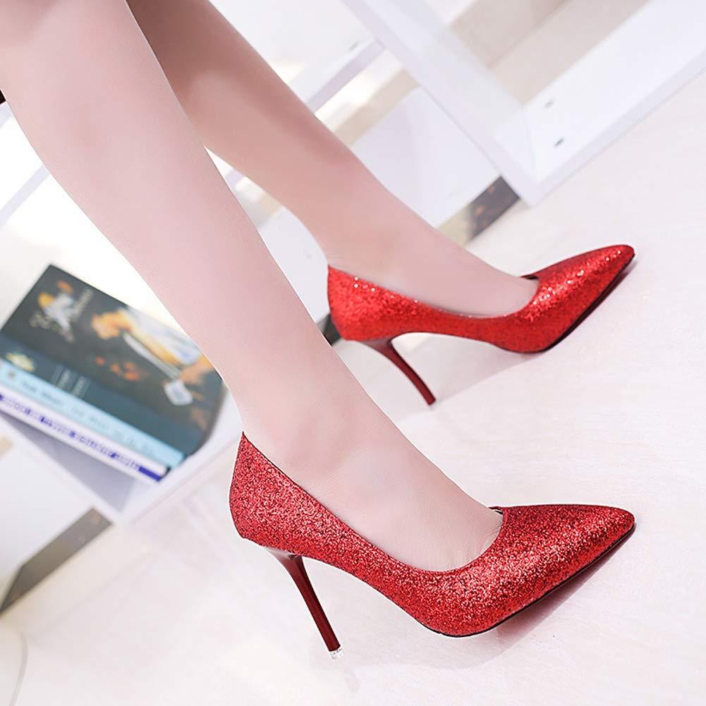 Frauen High Heels Damen Damen Damen flachen Mund Stilettos Gericht Schuhe Partei Prom Stiletto High Heels Pailletten Schuhe 06f547