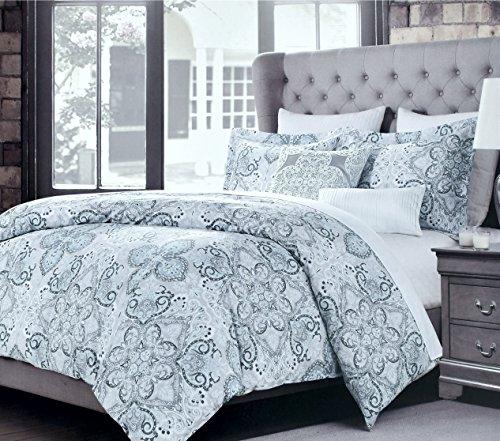 Tahari Home Luxury Bohemian Duvet Cover Luxury Boho Style Medallion Print in Blue Grey 3 Piece Bedding Set (Queen, Dusty Denim)