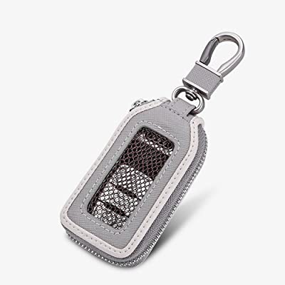 Car Keychain Cover Premium Leather Key Chain Coin Holder Keyring Hook Wallet Zipper Case Remote Smart Key Fob Alarm Security (Gray): Office Products