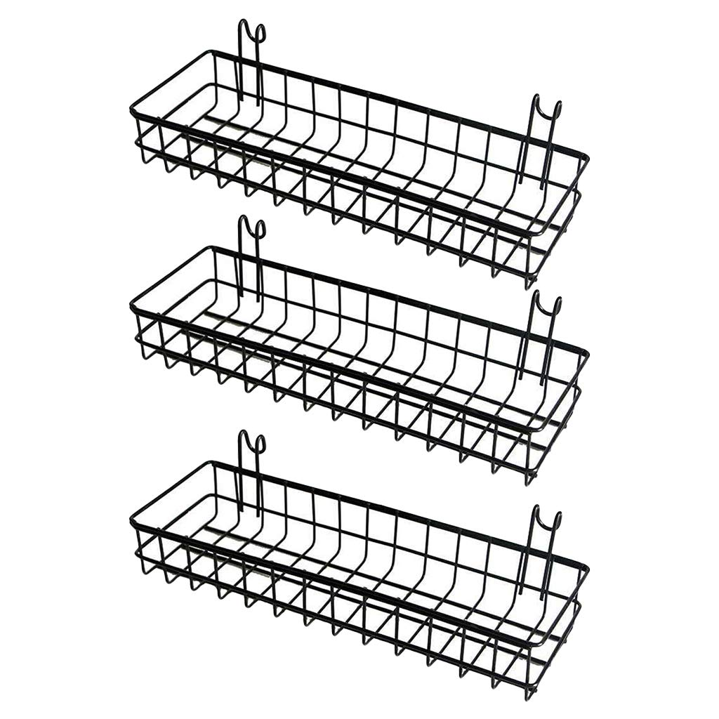 SM SunniMix 3pcs/Set Mesh Wall Metal Wire Basket, Grid Panel Hanging Tray, Wall Mount Organizer, Wire Storage Shelf Rack for Home Supplies, Wall Decor