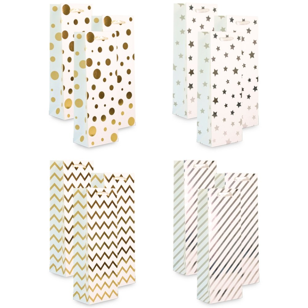 UNIQOOO 12Pcs Premium Assorted Gold& Sliver Metallic Chrome Wine Gift Bags,14''x5''x 3.25'',100% Recyclable Paper, Liquor Wine Carrier Tote Bag/Ribbon Handle/Wedding,Housewarming,Christmas Gift Bags