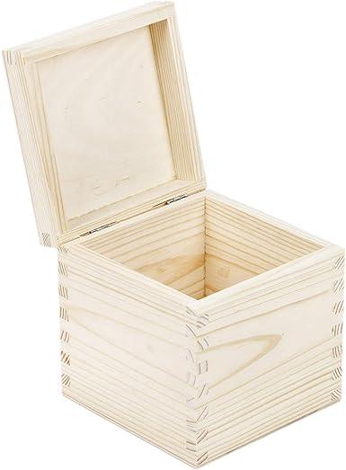 Relojes Caja Madera Madera Natural para Incluso gestallten Tapa Caja Caja de Madera sin Tratar Joyas Caja de Regalo: Amazon.es: Relojes