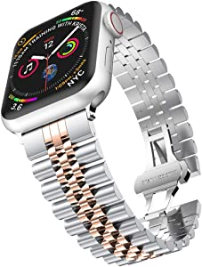baozai Compatible with Apple Watch Band 40mm 38mm, iWatch SE& Series 6 5 4 3 2 1 Stainless Steel Strap with Butterfly Folding Clasp for Women (Silver/Rose Gold)