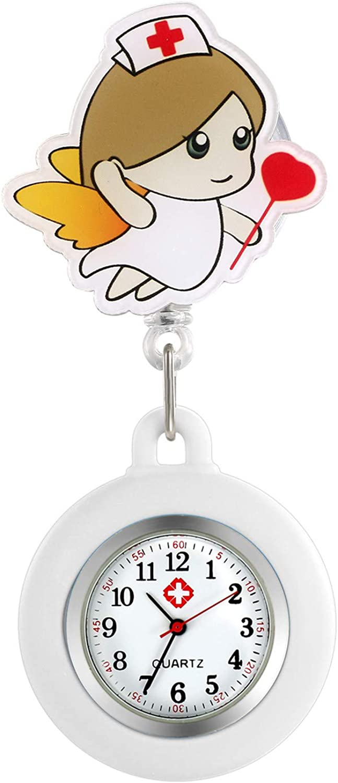 Reloj de enfermería retráctil con Clip para Mujer y niña, con Solapa de Silicona médica, para enfermería