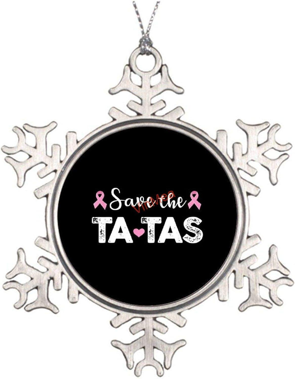VinMea Xmas Snowflake Ornaments Breast Cancer Awareness Save The Tatas Metal Snowflake Ornaments Ideas for Decorating Christmas Trees