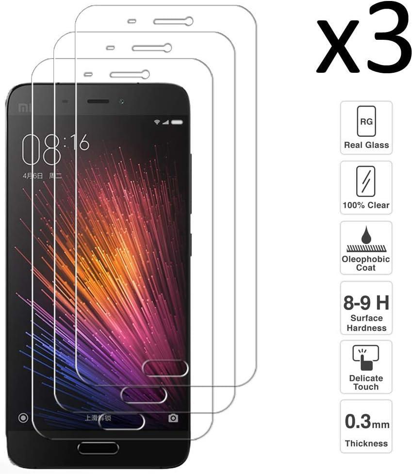iGlobalmarket [Pack Ahorro - 3 Unidades] Protector de Pantalla Xiaomi Mi5 Mi 5, Vidrio Templado, sin Burbujas, Alta Definicion, 9H Dureza, Resistente a Arañazos