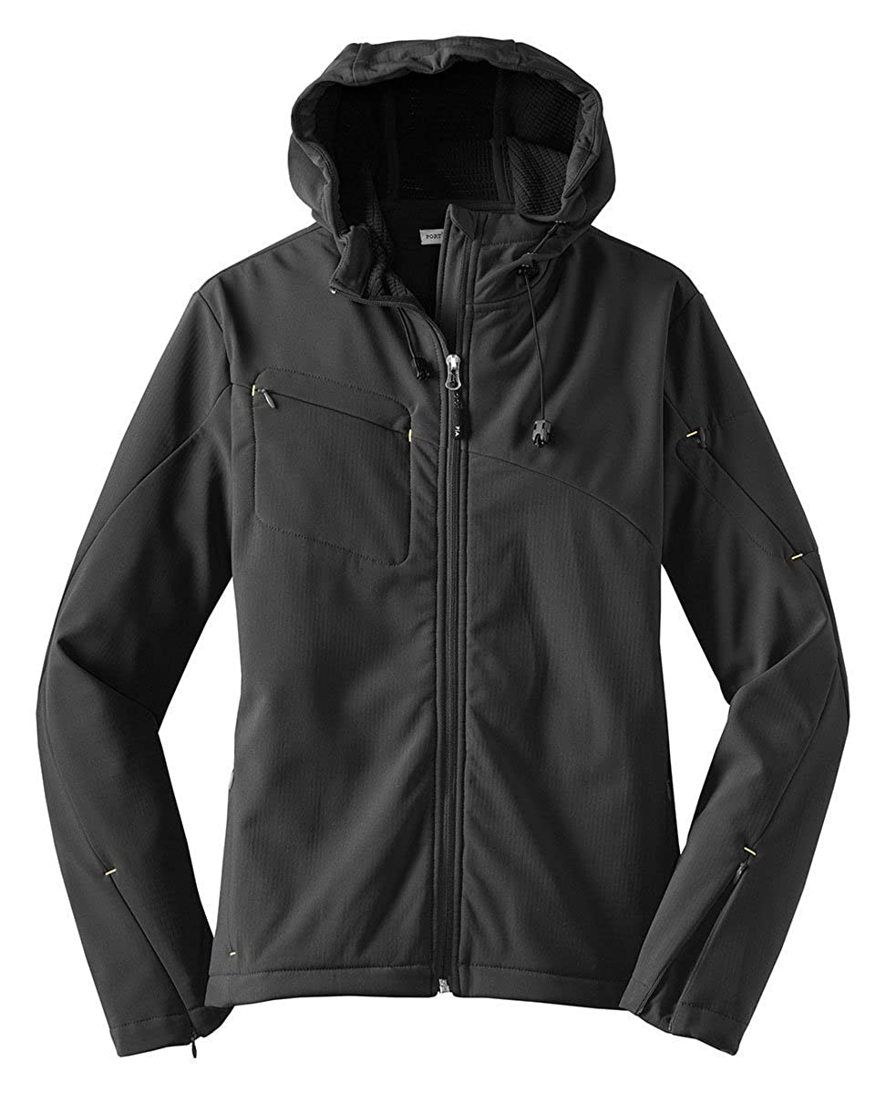 Ladies Textured Hooded Soft Shell Jacket Port Authority L706 Charcoal//Lemon Yellow/_M