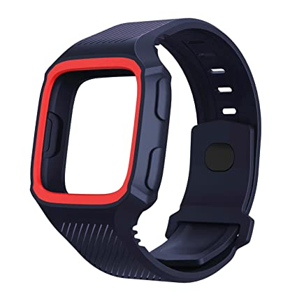 Leetoyi for Fitbit Versa Bands, TPU Water-Resistant Sports Strap for Fitbit Versa Smart Watch (Purple/Red)