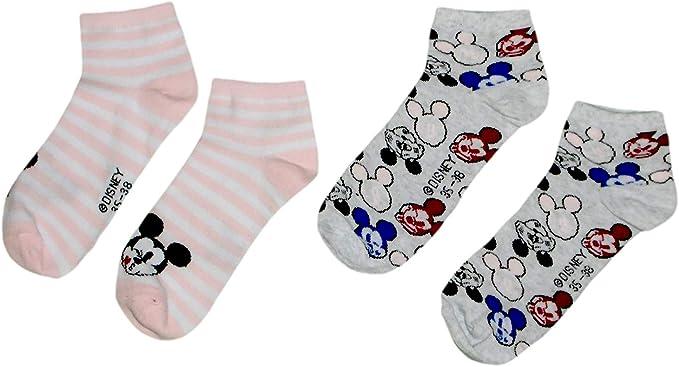 Disney - Calcetines tobilleros para mujer (2 unidades, algodón), diseño de Mickey Pattern 1 Talla única: Amazon.es: Ropa y accesorios