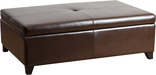 Abbyson Frankfurt Leather Storage Flip-Top Ottoman
