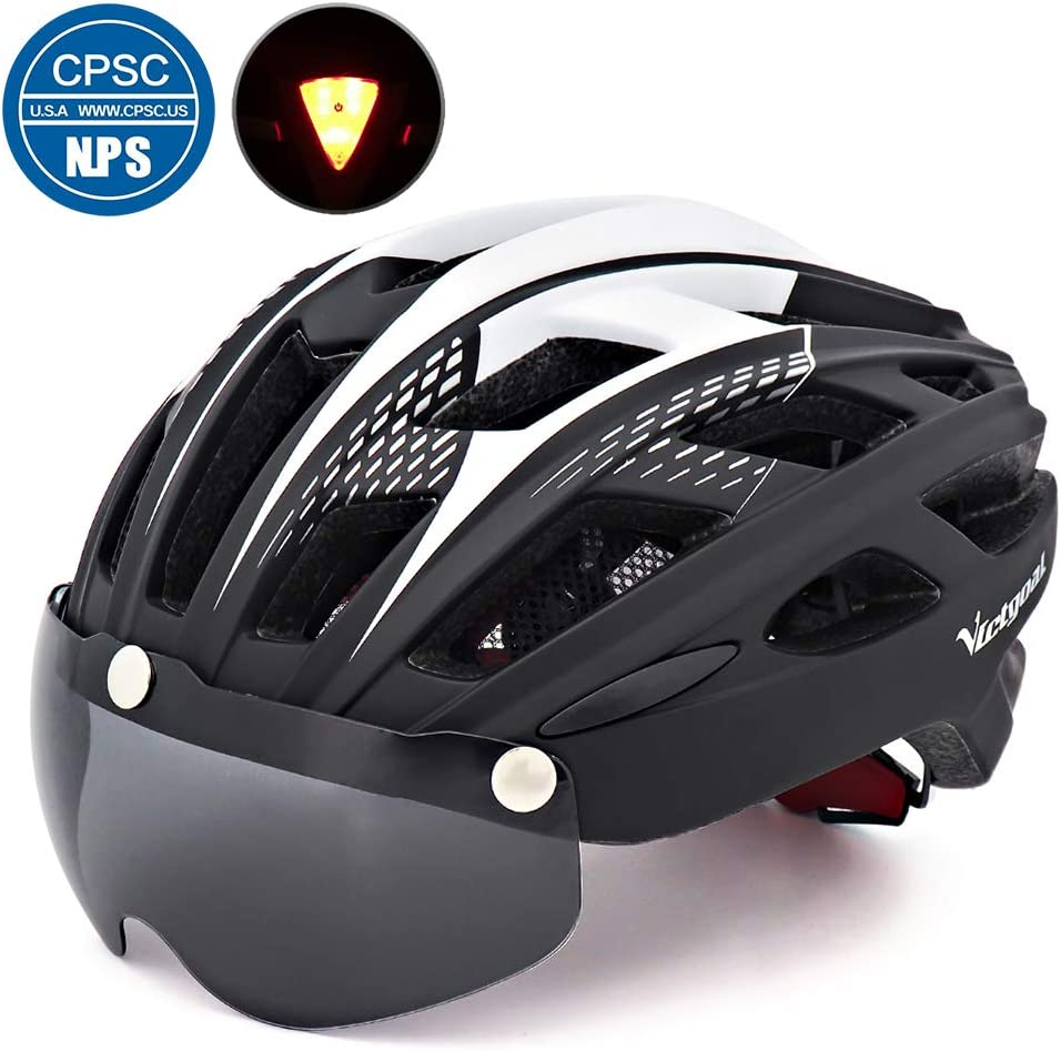 VICTGOAL Bike Helmet for Men Women with Safety Led Back Light Detachable Magnetic Goggles Visor Mountain Road Bicycle Helmets Adjustable Adult Cycling Helmets