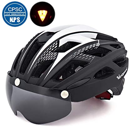 ffab47aa7b34b VICTGOAL Bicycle Helmet for Men Women with Safety Led Back Light Detachable  Magnetic Goggles Visor Mountain & Road Bike Helmets Adjustable Size Adult  ...