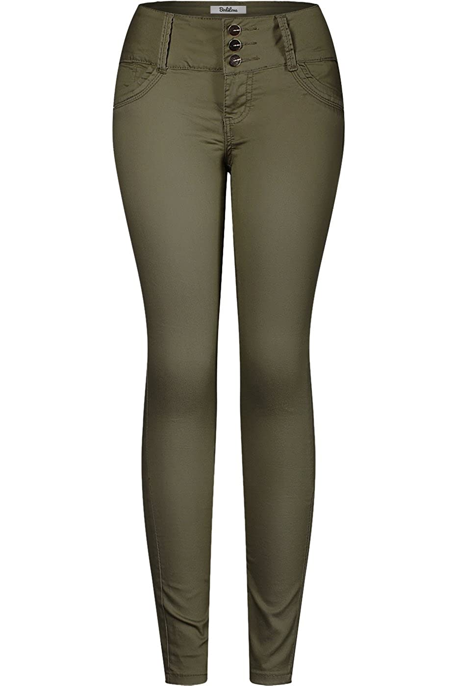 Dark Green2 2LUV Women's 3 Button Stretchy Uniform Pants Skinny color Jeans