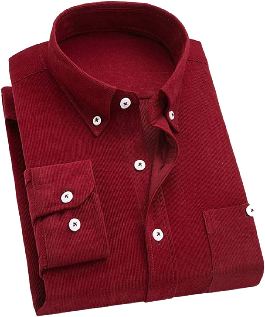 YUNY Men Formal Corduroy Original Fit Long Sleeves Woven Shirt Wine Red L