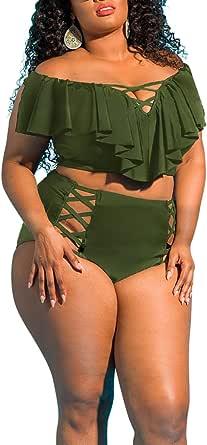 Viottiset Traje de baño de talla grande para las mujeres Top volantes cintura alta trajes de baño dos piezas trajes de baño conjuntos de bikini