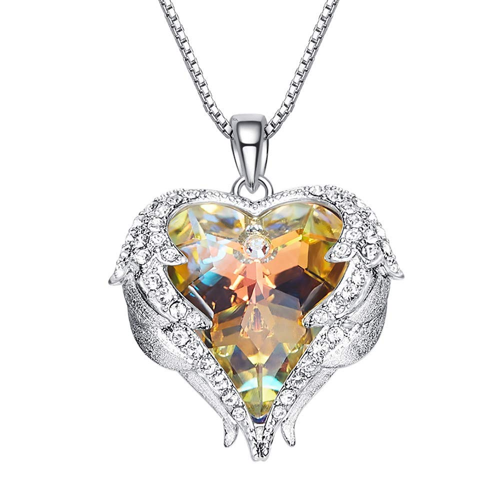 Angel Wing Love Heart Necklaces, LIXUXU Love Heart Pendant Necklace Gifts Jewelry for Women Girls (Multicolor)