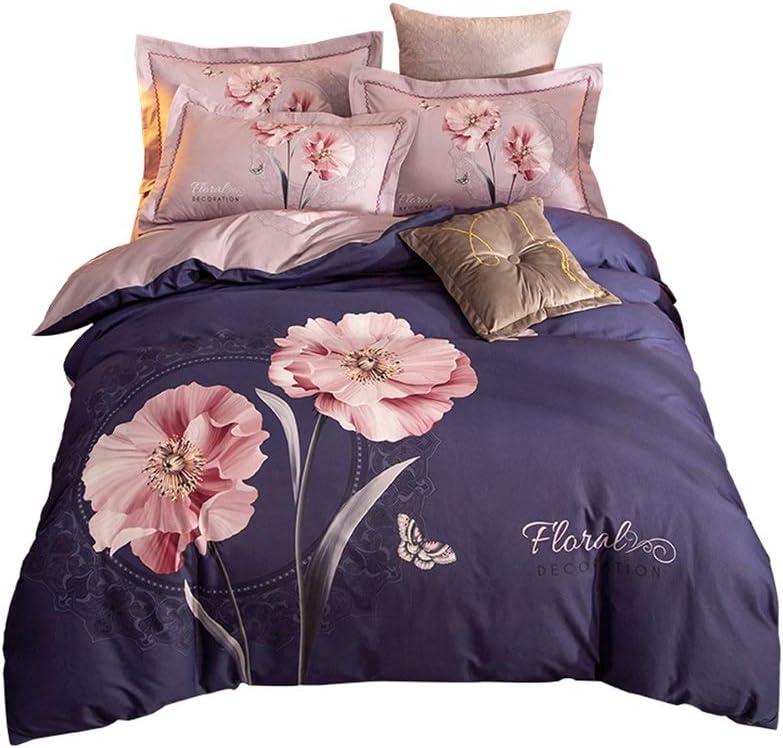 4ピース寝具セット布団カバーフラットシート/純粋な自然な綿100%ベッドシート印刷ベッドシートセット花の寝具フィットシート/シンプルなホーム寝具/超ソフトマイクロファイバー女の子寝具/パープル (サイズ : Large)  Large