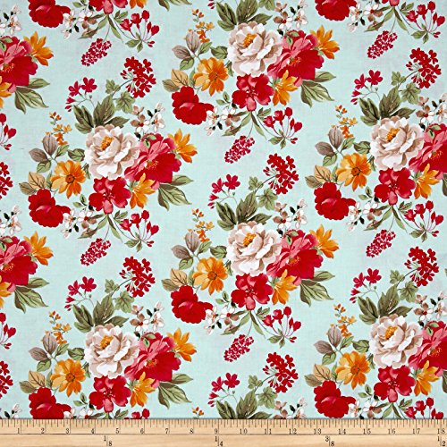 Penny Rose Farmhouse Floral Main Blue Fabric by The Yard