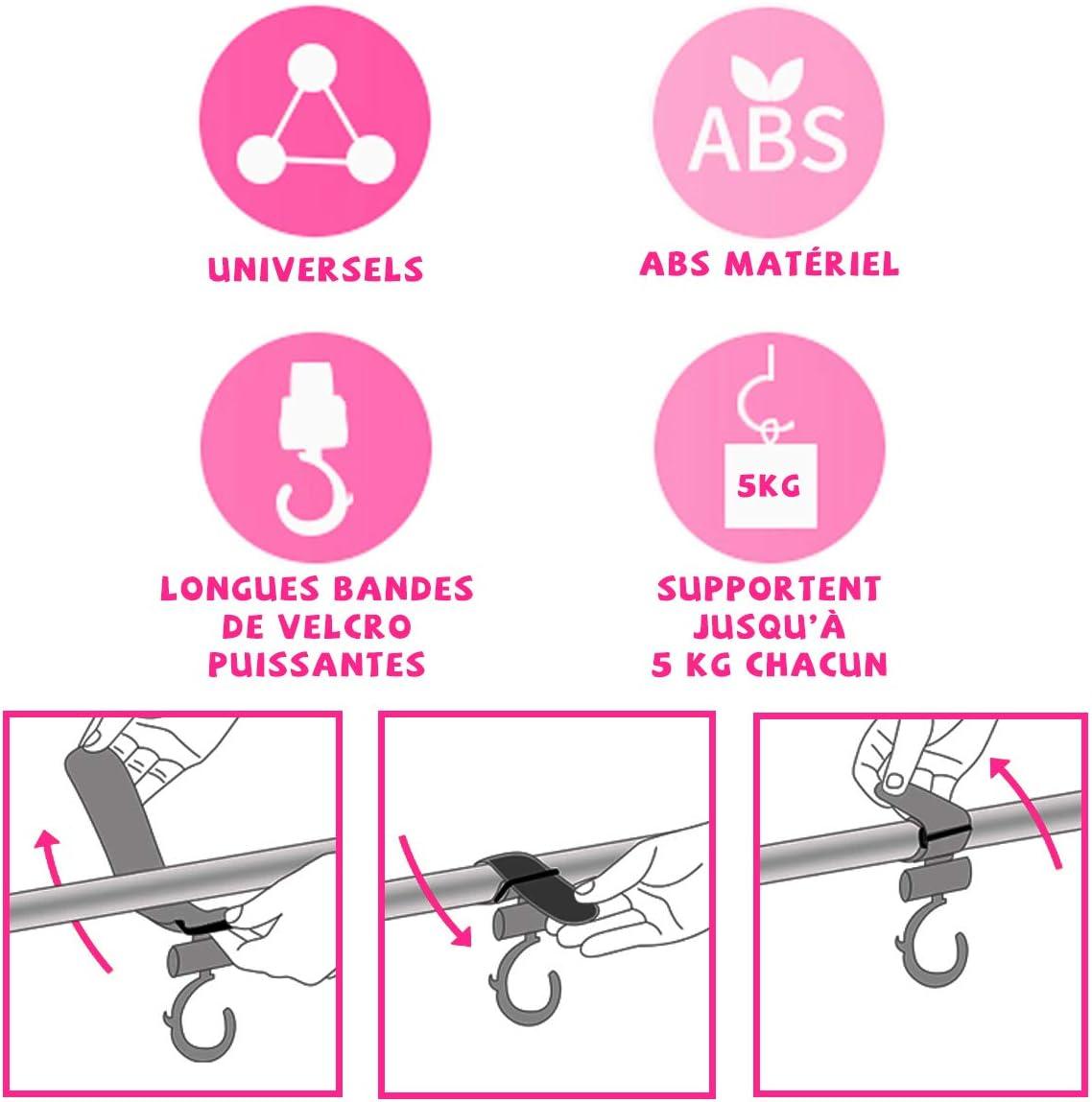 Universels O/³ 4 Crochets Poussettes S/'adaptent /à la poussette yoyo et /à tous types de poussettes Pratiques pour accrocher les sacs /à main et les sacs /à langer Noirs avec finitions roses