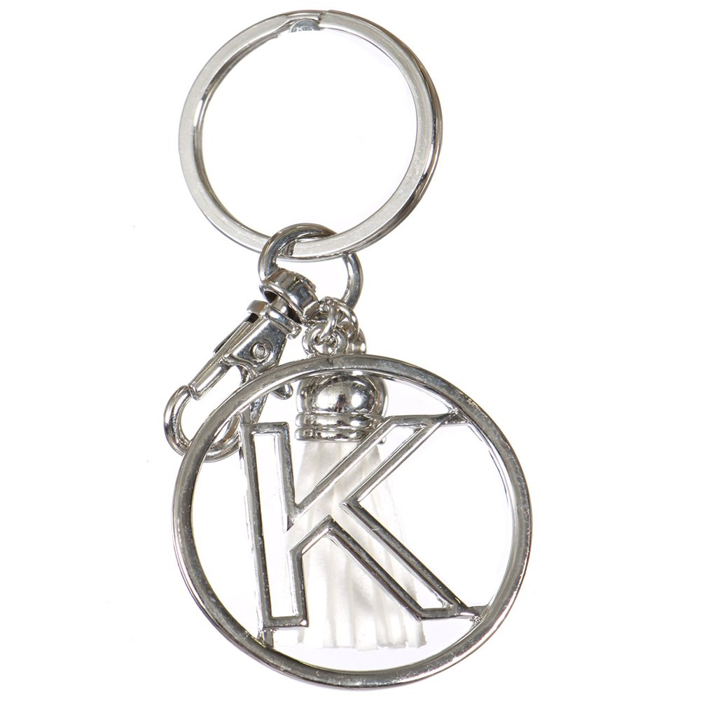 Crown Alphabet Initial Letter Keychain, Key Ring, Bag Charm w/ Tassel (K-Rhodium)